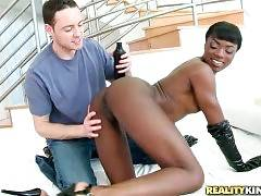 Hot Black Babe Wastes No Time 1
