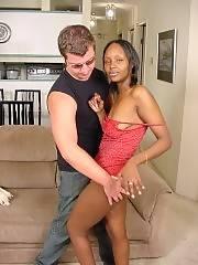 Nice ass ebony babe gets hardcore spanking from boyfriend