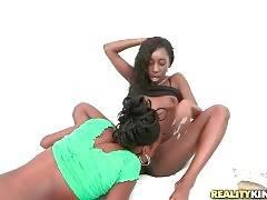 Two Black Girls Enjoy Lesbian Foreplay 1