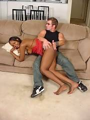 Nice ass ebony babe gets hardcore spanking from boyfriend